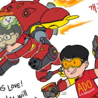 上海龙队韩国粉丝为Ado和Geguri画Q版像